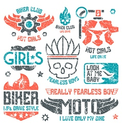 Car and biker badges vector