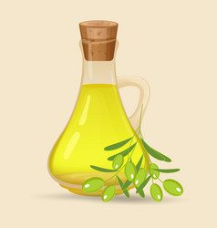 carafe with olive oil isolated on white vector image