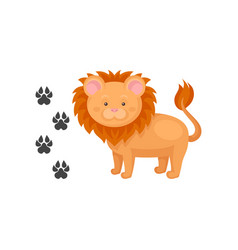 cartoon icon of cute lion and his footprints wild vector image