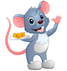 Cartoon mouse holding a slice of cheese on a plate vector
