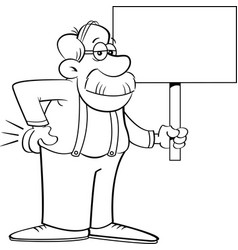cartoon old man holding a sign vector image