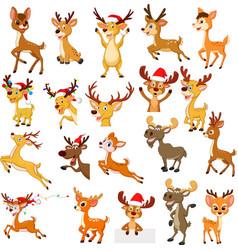 cartoon reindeer christmas collection set vector image