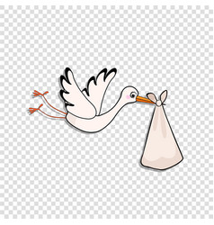 cartoon stork delivering baby bundle on vector image
