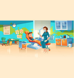 child patient at dentist office or dental clinic vector image