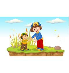 Children playing in nature vector