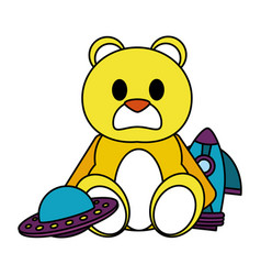 Color teddy bear with rocket and ufo toys vector