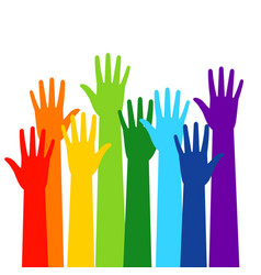 Colored volunteer crowd hands vector