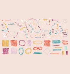 colorful doodle arrows colored arrow sketch ink vector image