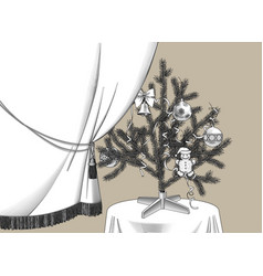 curtain and christmas tree with ribbons vector image