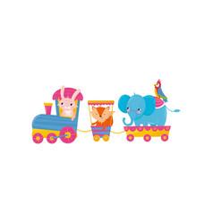 cute animals riding on train cartoon pink bunny vector image