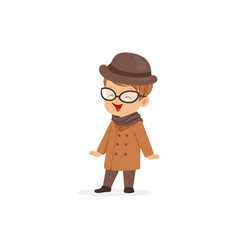 cute little boy wearing brown coat and hat young vector image