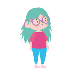 cute little girl cartoon character isolated icon vector image