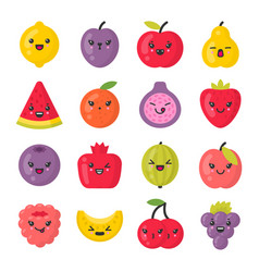 Cute smiling fruits isolated colorful icon vector