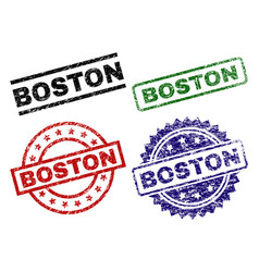 damaged textured boston stamp seals vector image