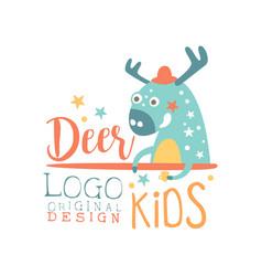 Deer kids logo original design baby shop label vector