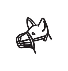 Dog with muzzle sketch icon vector