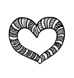 Doodle hand drawn hearts coloring page book vector