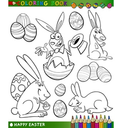Easter cartoon themes for coloring vector