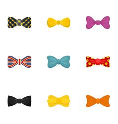 Elegant bow tie icon set flat style vector