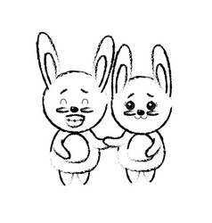 Figure cute couple rabbit wild animal with vector