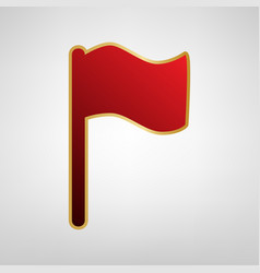 flag sign red icon on gold vector image