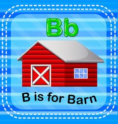 Flashcard letter b is for barn vector