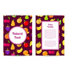 Flat fruits vegan healthy food card vector