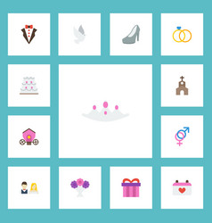 Flat icons bridegroom dress present building and vector