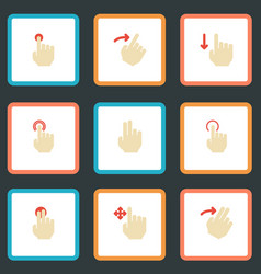 Flat icons nudge slide hold and other vector