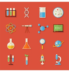 Flat Science and Education Objects Set with Shadow vector