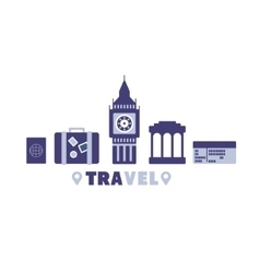 Flying To London Travel Symbols Set By Five In vector
