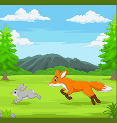 Fox is chasing a rabbit in an african savanna vector