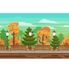 Game seamless autumn landscape park background vector