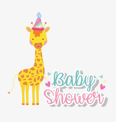 Giraffe wearing party hat to celebrate baby shower vector