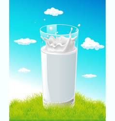 glass of milk with splash on natural background vector image