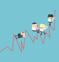 graph concepts businessmen swarming stock graphs vector image