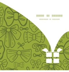 green bows Christmas gift box silhouette pattern vector image