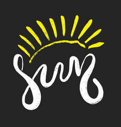 Hand drawn lettering - sun vector