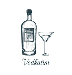 Hand sketched vodka bottle and vodkatini glass vector