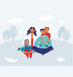 happy family enjoying picnic characters vector image