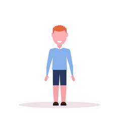 happy redhead boy standing pose little child male vector image