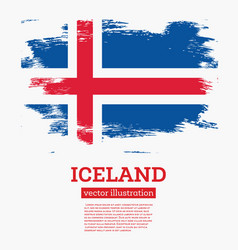 Iceland flag with brush strokes vector