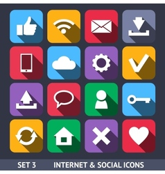 Internet and Social Icons With Long Shadow vector image