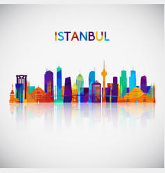 istanbul skyline silhouette in colorful geometric vector image