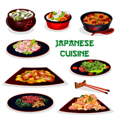 Japanese cuisine traditional dinner cartoon icon vector