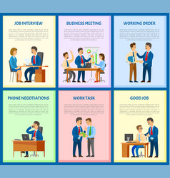 Job interview and business meeting workers vector