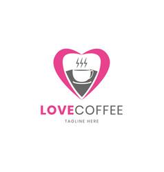 love shape of coffee shop logo design template vector image