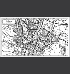 Malang indonesia city map in black and white vector