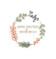 merry christmas and happy new year logo vector image