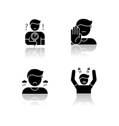 Mood and temperament drop shadow black glyph vector